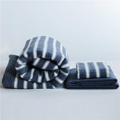 2019全棉色织水洗棉夏被单品夏被三件套夏被四件套日式良品风格空调被夏被 120cmx150cm夏被 深蓝宽条