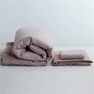 2019全棉色织水洗棉夏被单品夏被三件套夏被四件套日式良品风格空调被夏被 120cmx150cm夏被 小粉格