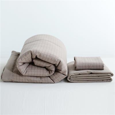 2019全棉色织水洗棉夏被单品夏被三件套夏被四件套日式良品风格空调被夏被 120cmx150cm夏被 小咖格