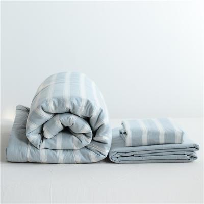 2019全棉色织水洗棉夏被单品夏被三件套夏被四件套日式良品风格空调被夏被 120cmx150cm夏被 浅蓝宽条