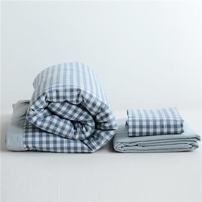 2019全棉色织水洗棉夏被单品夏被三件套夏被四件套日式良品风格空调被夏被 120cmx150cm夏被 浅蓝小格