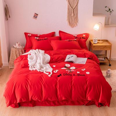 2019新款毛巾绣保暖加厚水晶绒宝宝绒牛奶绒四件套太阳花 1.8m床单款四件套 大红