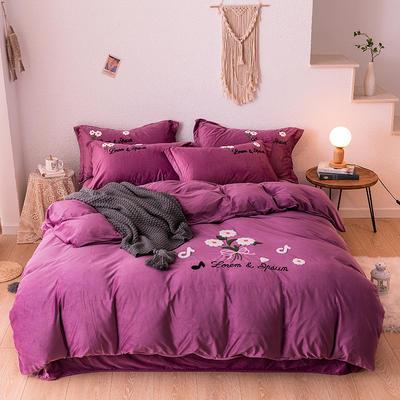 2019新款毛巾绣保暖加厚水晶绒宝宝绒牛奶绒四件套太阳花 1.8m床单款四件套 深紫
