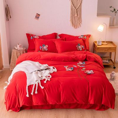 2019新款毛巾绣保暖加厚水晶绒宝宝绒牛奶绒四件套五颜六色 1.8m床单款四件套 大红