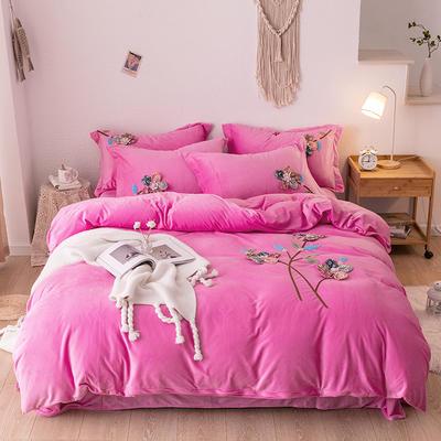 2019新款毛巾绣保暖加厚水晶绒宝宝绒牛奶绒四件套五颜六色 1.8m床单款四件套 粉色