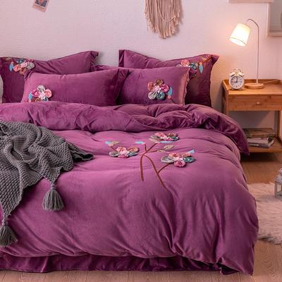 2019新款毛巾绣保暖加厚水晶绒宝宝绒牛奶绒四件套五颜六色 1.8m床单款四件套 深紫