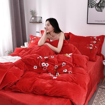 2019新款毛巾绣保暖加厚水晶绒宝宝绒牛奶绒四件套一枝梅 1.8m床单款四件套 大红