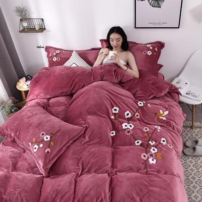 2019新款毛巾绣保暖加厚水晶绒宝宝绒牛奶绒四件套一枝梅 1.8m床单款四件套 豆沙