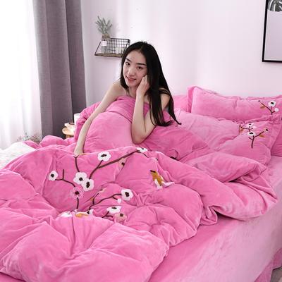 2019新款毛巾绣保暖加厚水晶绒宝宝绒牛奶绒四件套一枝梅 1.8m床单款四件套 粉色