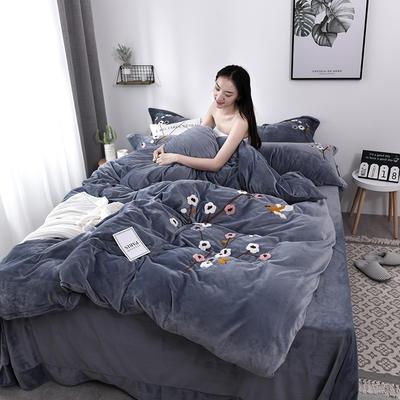 2019新款毛巾绣保暖加厚水晶绒宝宝绒牛奶绒四件套一枝梅 1.8m床单款四件套 灰色