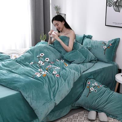 2019新款毛巾绣保暖加厚水晶绒宝宝绒牛奶绒四件套一枝梅 1.8m床单款四件套 绿色