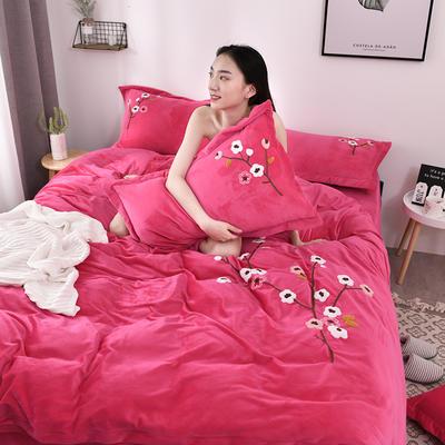 2019新款毛巾绣保暖加厚水晶绒宝宝绒牛奶绒四件套一枝梅 1.8m床单款四件套 玫红