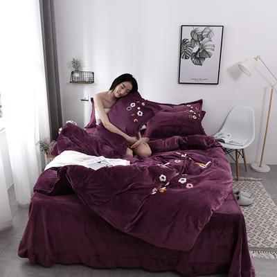 2019新款毛巾绣保暖加厚水晶绒宝宝绒牛奶绒四件套一枝梅 1.8m床单款四件套 紫色