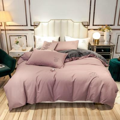 2019新款60支长绒棉双拼磨毛四件套 1.5m床单款 紫豆沙+高级灰