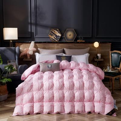 2019新款80柔赛丝扭花羽绒被被子被芯 150x200cm  4斤 粉色