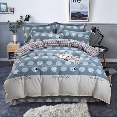 新款磨毛铂金棉四件套 0.9m-1.2m床单款三件套 斑点狗101