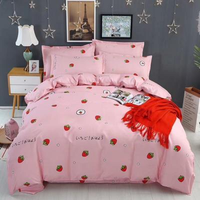 新款磨毛铂金棉四件套 0.9m-1.2m床单款三件套 草莓甜心