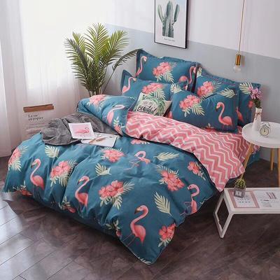 新款磨毛铂金棉四件套 0.9m-1.2m床单款三件套 粉色火鸟