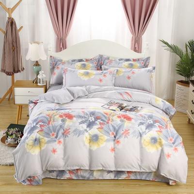 新款磨毛铂金棉四件套 0.9m-1.2m床单款三件套 墨语