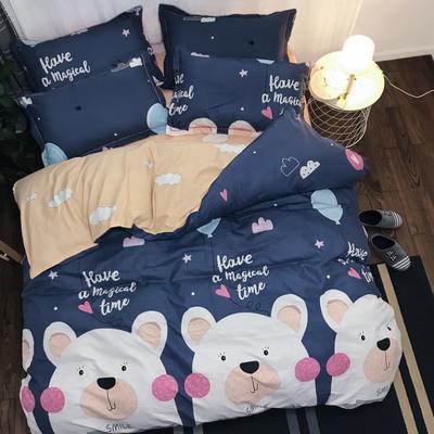 2019新款磨毛铂金棉四件套 1.8m床单款四件套 熊的童话