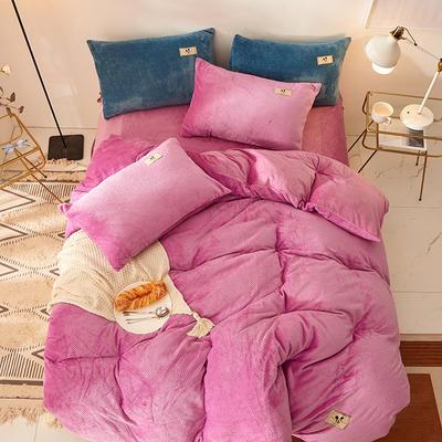 2020新款加厚贝贝绒床单款纯色洋气米奇系列水晶绒法莱绒四件套 1.8m床单款四件套 玫紫