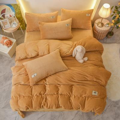 2020新款加厚贝贝绒床单款纯色洋气米奇系列水晶绒法莱绒四件套 1.8m床单款四件套 土黄