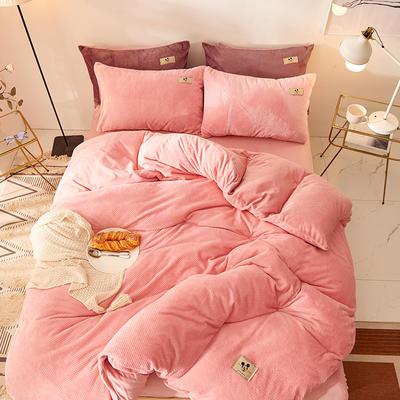 2020新款加厚贝贝绒床单款纯色洋气米奇系列水晶绒法莱绒四件套 1.8m床单款四件套 玉粉