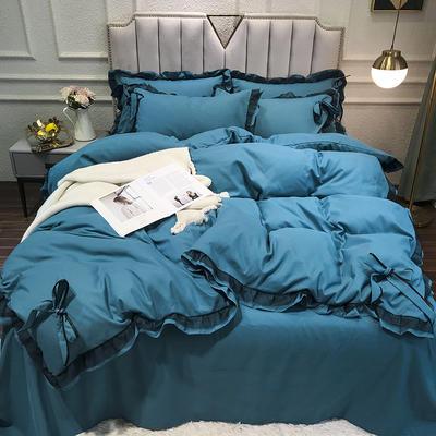 2021新款纯色蕾丝花边系列四件套 1.5m床单款四件套 靛蓝