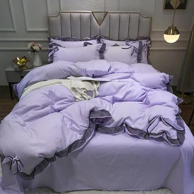 2021新款纯色蕾丝花边系列四件套 1.5m床单款四件套 赤青