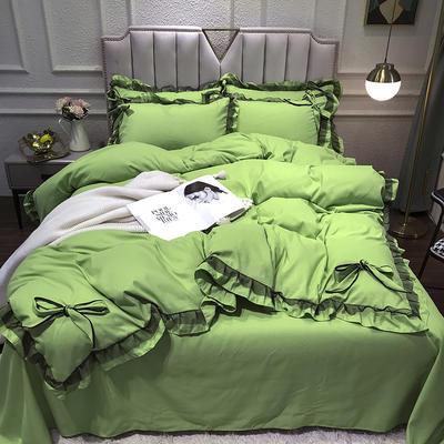 2021新款纯色蕾丝花边系列四件套 1.5m床单款四件套 草木绿