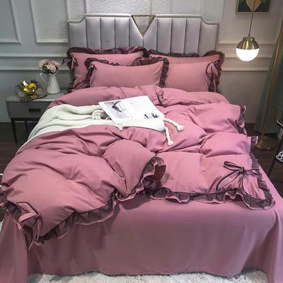 2021新款纯色蕾丝花边系列四件套 1.5m床单款四件套 芭蕾粉