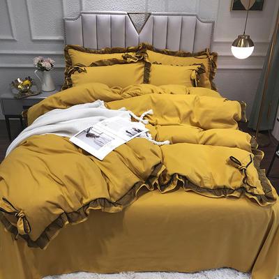2021新款纯色蕾丝花边系列四件套 1.5m床单款四件套 芥末黄