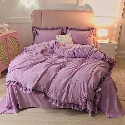 2021新款纯色蕾丝花边系列四件套 1.5m床单款四件套 葡萄紫