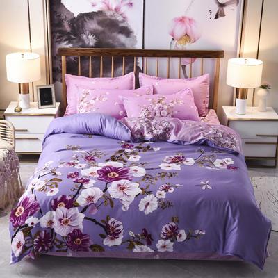 2019新款-磨毛大版花边款四件套 1.8m(6英尺)床(床单款) 静听花语-紫