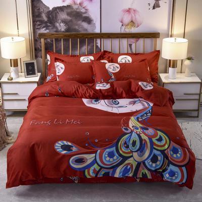 2019新款-磨毛大版花边款四件套 1.8m(6英尺)床(床单款) 孔雀-红