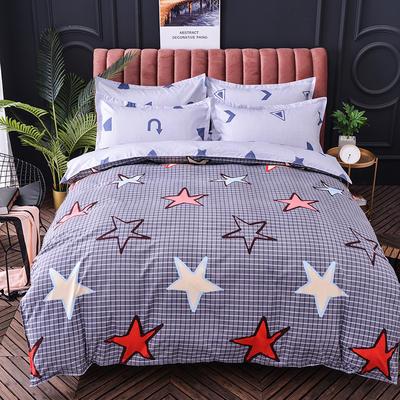 2019新款-磨毛大版直角款四件套 1.8m(6英尺)床(床单款) 满天星-灰
