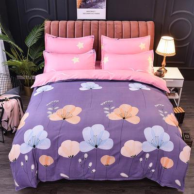 2019新款-磨毛大版直角款四件套 1.8m(6英尺)床(床单款) 飘舞紫