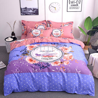 2019新款-磨毛大版直角款四件套 1.8m(6英尺)床(床单款) 艾琳娜-紫