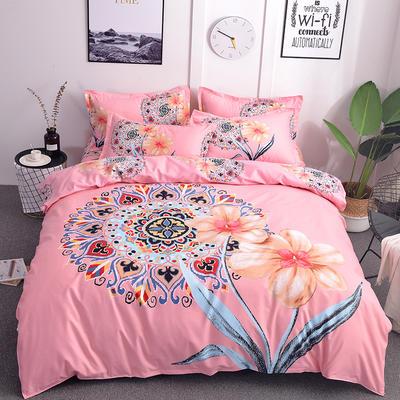 2019新款-磨毛大版直角款四件套 1.8m(6英尺)床(床单款) 琉璃粉