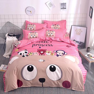 2019新款-磨毛大版直角款四件套 1.8m(6英尺)床(床单款) 微笑王子-红