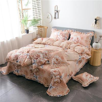 2019新款夹棉床盖式六件套 1.2m床盖式三件套 拥抱花季