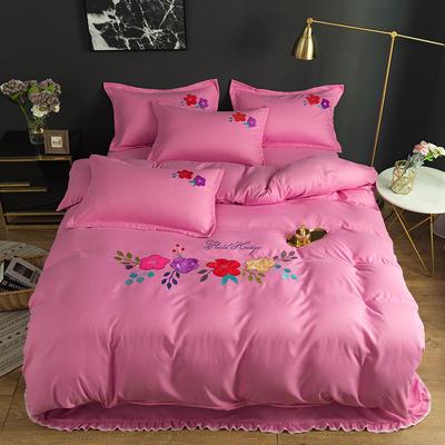 2019新款贴布绣四件套 1.2m床单款三件套 淡粉色