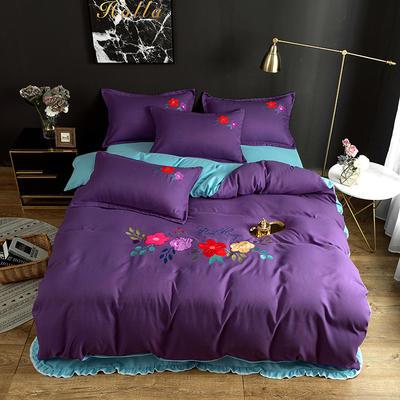 2019新款贴布绣四件套 1.2m床单款三件套 魅紫色