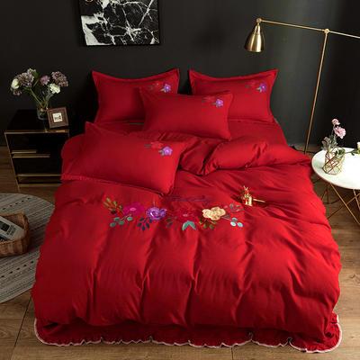 2019新款贴布绣四件套 1.2m床单款三件套 中国红