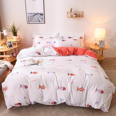 2019新款标准130克植物羊绒四件套 1.2m床单款三件套 和风轻鱼(红)
