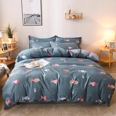 2019新款标准130克植物羊绒四件套 1.2m床单款三件套 和风轻鱼(兰灰)