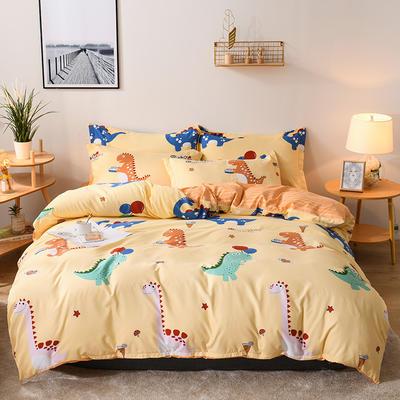 2019新款标准130克植物羊绒四件套 1.2m床单款三件套 恐龙乐园(黄)