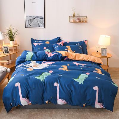 2019新款标准130克植物羊绒四件套 1.2m床单款三件套 恐龙乐园(蓝)