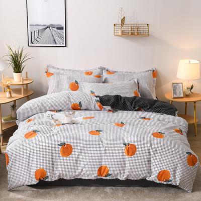 2019新款标准130克植物羊绒四件套 1.2m床单款三件套 蜜桃