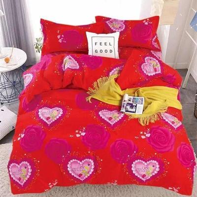 2020新款120克植物羊绒四件套 1.5m床单款四件套 恋爱玫瑰